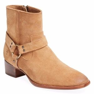 FRYE Dara Sand Suede Leather Harness Bootie